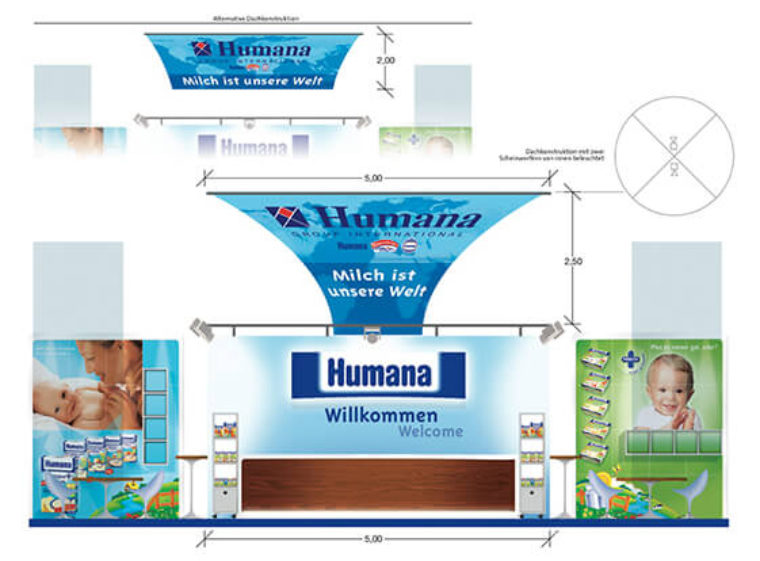 Humana Messestand Konzept
